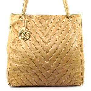 Auth Chanel V Stitch Cc Charm Tote Bag #2192C20